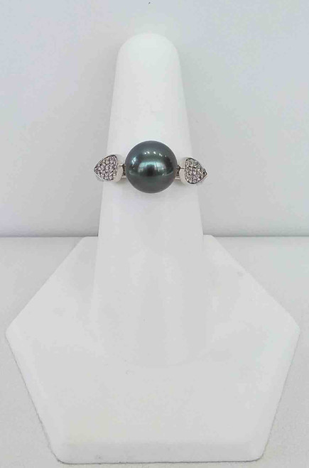 10K White Gold Black Pearl & Diamond Ring 0.26 DTW