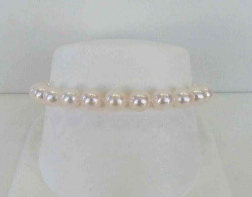 """14K White Gold 7-7.5mm 7"""" Akoya Pearl Bracelet"""