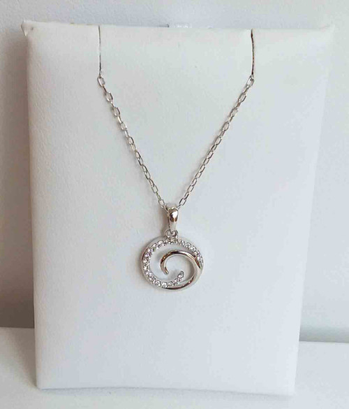 "10K White Gold Diamond Swirl Pendant 0.10 DTW 18"" Chain"