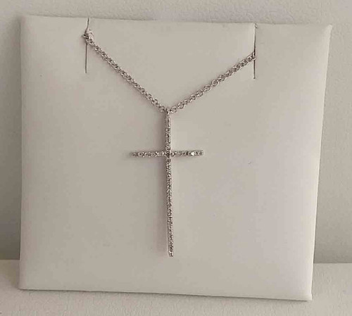 "14K White Gold Diamond Cross Pendant 0.07 DTW 18"" Chain"