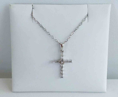 "10K White Gold Baguette Diamond Cross 0.10 DTW 18"" Chain"