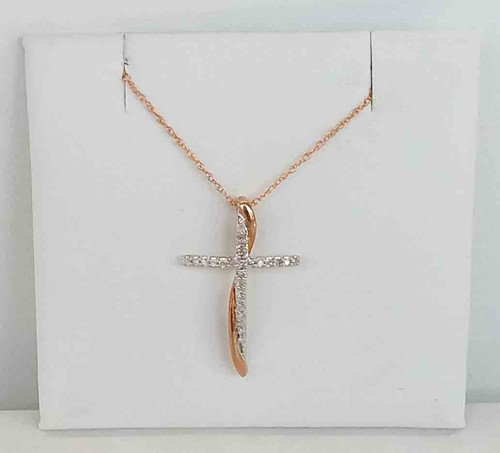 10K Two Tone White Gold Cross with Rose gold swirl DTW .10