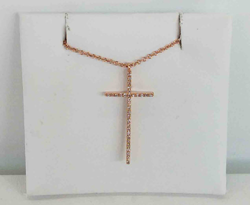 "14K Rose Gold Diamond Cross Pendant 0.07 DTW 18"" Chain"