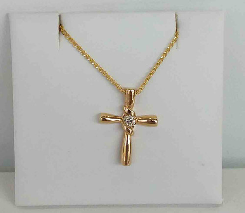 "14K Yellow  Gold .10DTW Sirena Cross Pend 18"" Open Wheat Chain"