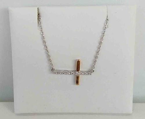 14K Two Tone Sideways Diamond Cross 0.06 DTW