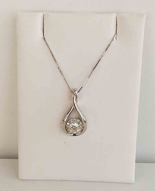 "14K White Gold Diamond Halo Teardrop Pendant 0.50 DTW 18"" Box Chain"