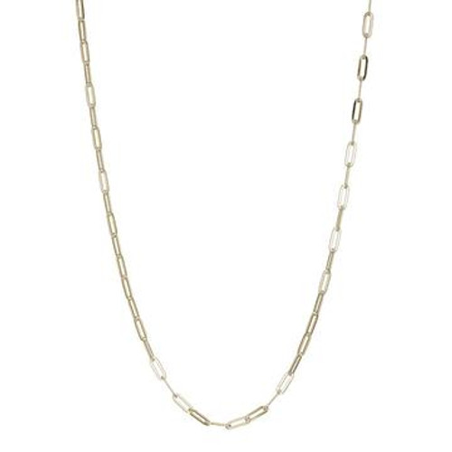 Elle Sterling Silver/Yellow Gold Plated Paperclip Chain 24""