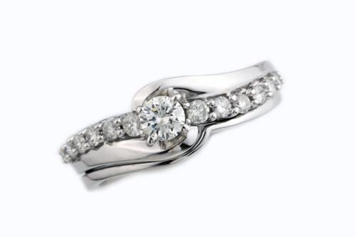 14 Karat White Gold .51 dtw 13 Round Diamond Wedding Set