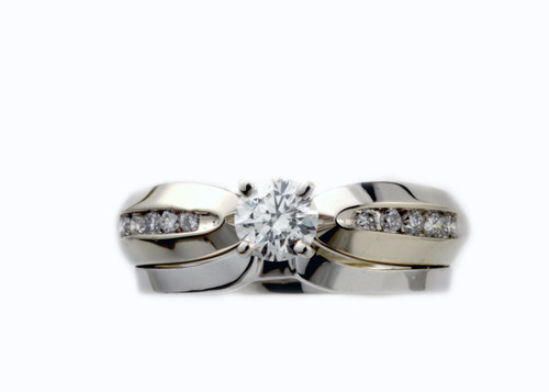 10 Karat White Gold .60 dtw Diamond Set With Plain Band (.41 ctw Round Diamond)