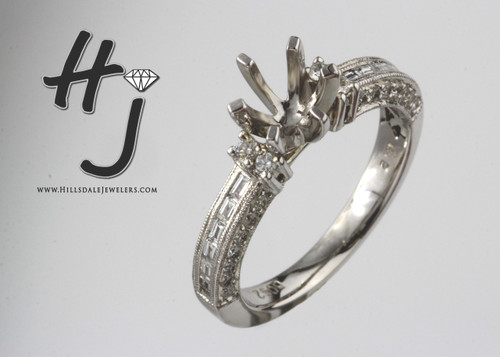 18 Karat White Gold .52 dtw Baguette and Round Semi Mount