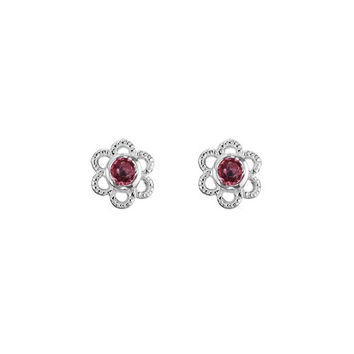 Children's Sterling Silver Garnet Flower Studs