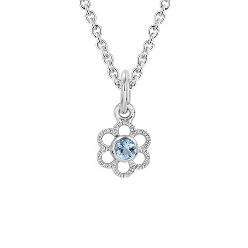 Children's Sterling Silver Aqua Flower Pendant with Chain