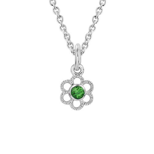Children's Sterling Silver Created Emerald Flower Pendant with Chain
