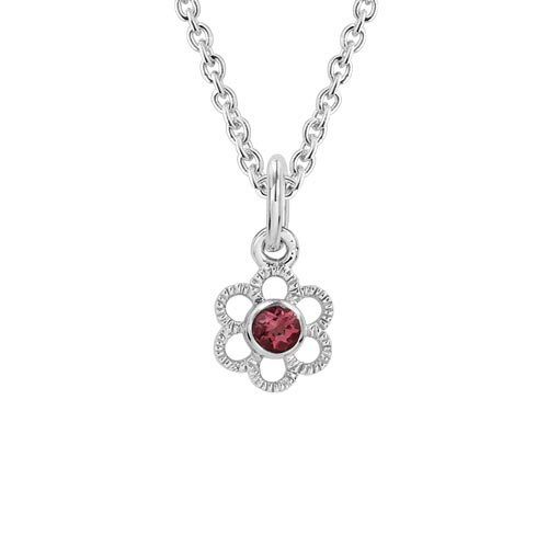 Children's Sterling Silver Garnet Flower Pendant with Chain