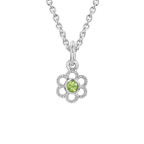 Children's Sterling Silver Peridot Flower Pendant with Chain