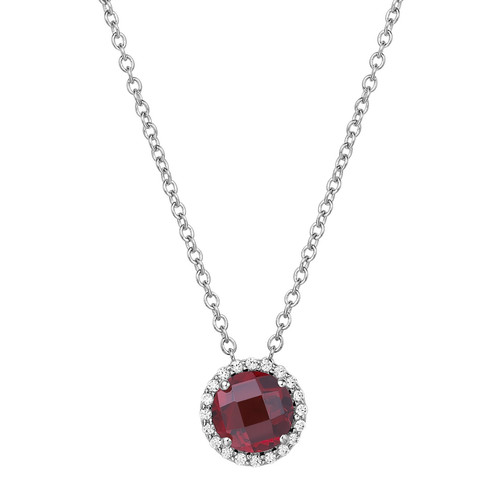 "Sterling Silver Garnet with Simulated Diamond pendant with 18"" Chain"