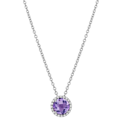 "Sterling Silver Amethyst with Simulated Diamond Pendant with 18"" Chain"