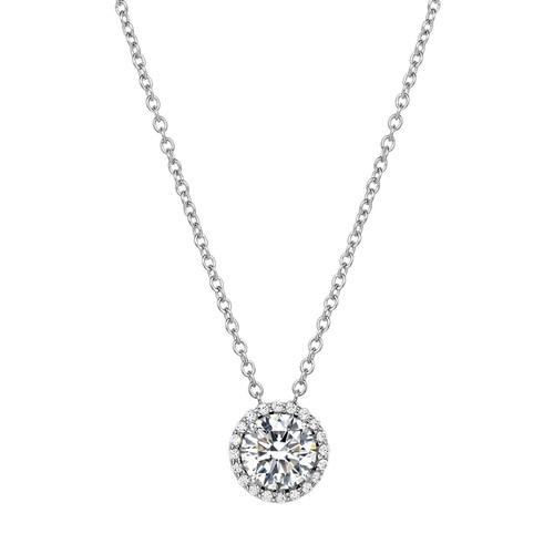 "Sterling Silver Simulated Diamond with Simulated Diamond Halo  Pendant with 18"" Chain"
