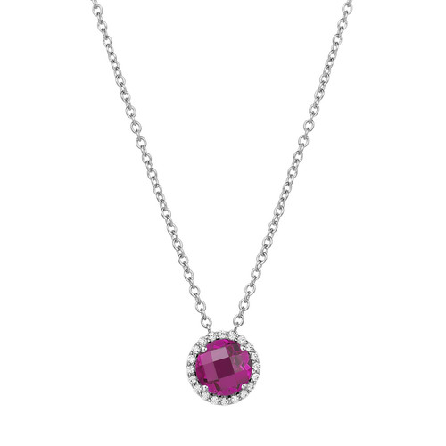 "Sterling Silver Created  Ruby with Simulated Diamond Pendant with 18"" Chain"