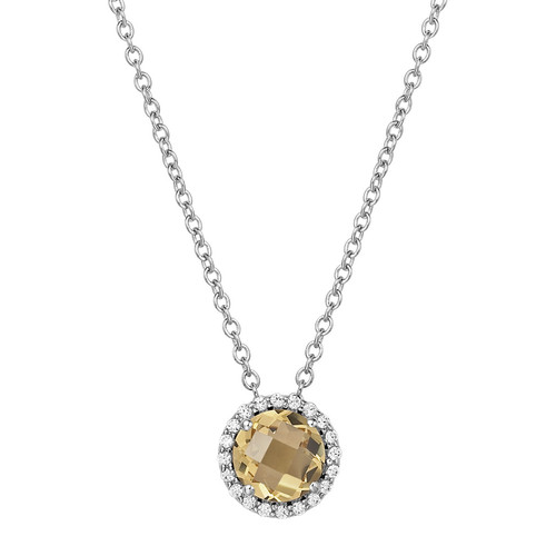 "Sterling Silver Citrine with Simulated Diamond Pendant with 18"" Chain"