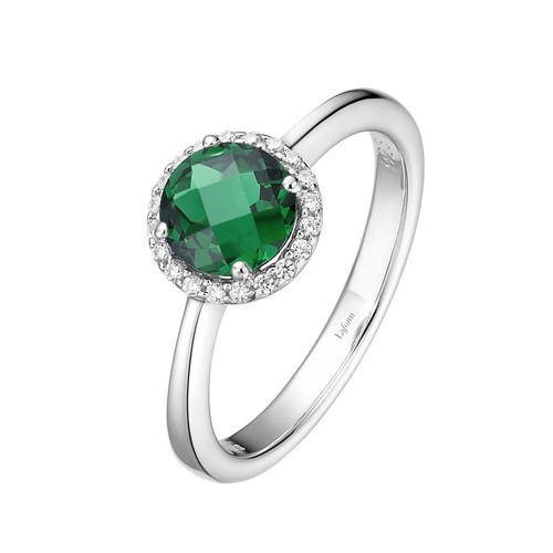 Sterling Silver Simulated Emerald with Simulated Diamond Ring