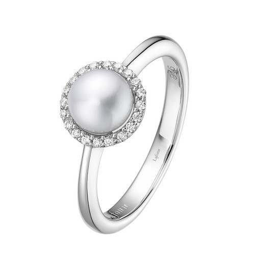 Steerling Silver Fresh Water Pearl with Simulated Diamond Ring