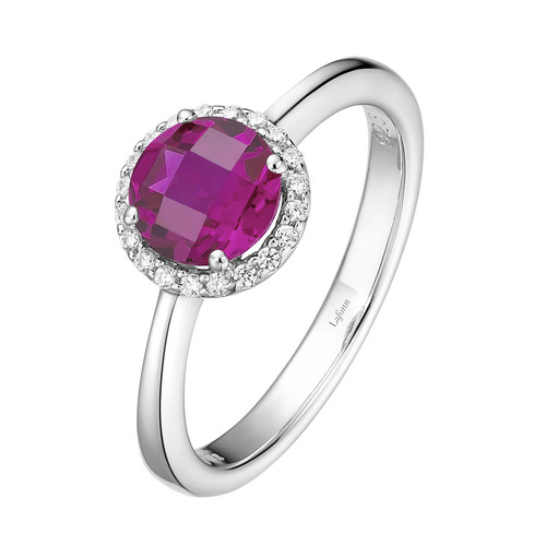 Sterling Silver Created Ruby with Simulated Diamond Ring
