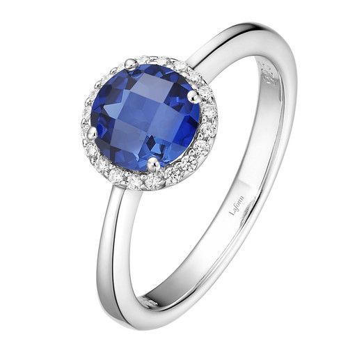 Sterling Silver Created Sapphire with Simulated Diamond Ring