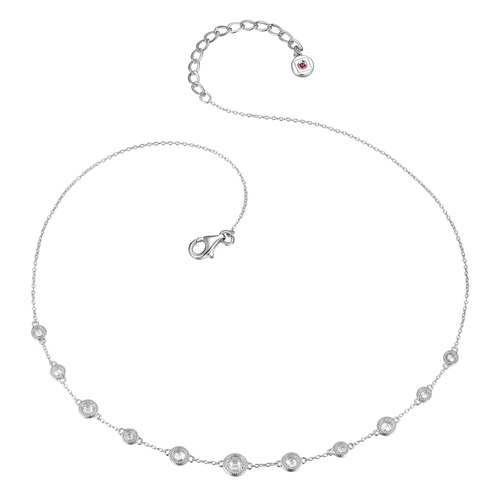 "Elle Sterling Silver  CZ 18"" Necklace"