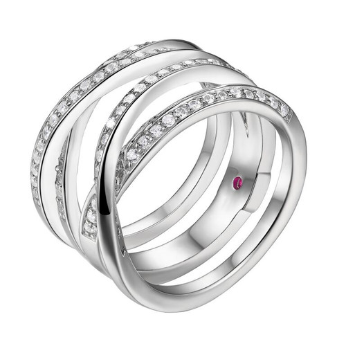Elle Sterling Silver 4 Row CZ Ring