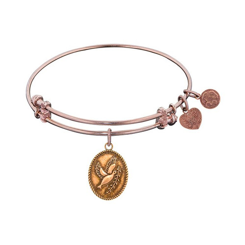 Angelica Pink Brass Dove with Olive Branch Bracelet