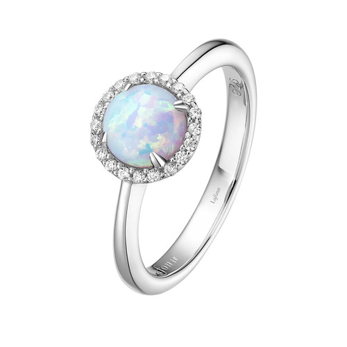 Sterling  Silver Lab Opal with Simulated Diamond Ring