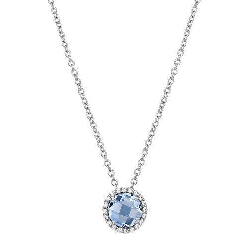 "Sterling Silver Simulated Aqua with Simulated Diamond Pendant with 18"" Chain"
