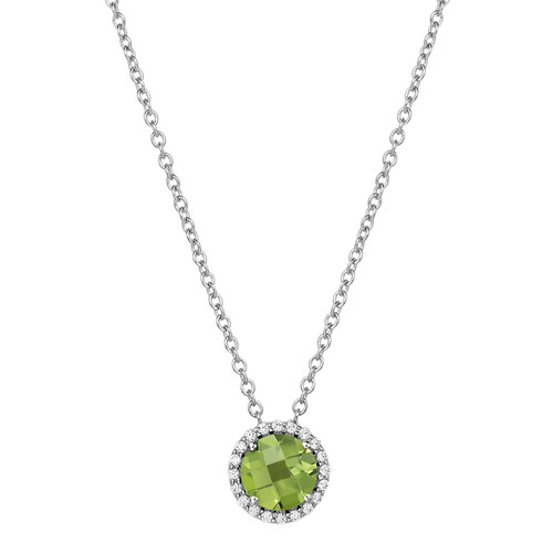 "Sterling Silver Peridot with Simulated Diamond Pendant with 18"" Chain"
