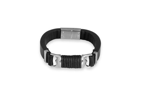 "SteelX Steel & Black Leather Bracelet 9"""
