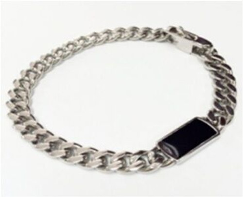 SteelX 8MM Curb Bracelet w/Black Enamel ID 8.5""