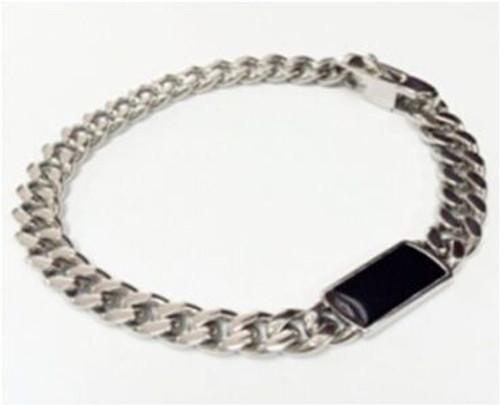 "SteelX 8MM Curb Bracelet w/Black Enamel ID 8.5"""