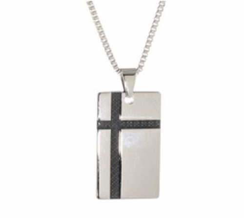 "SteelX Dog Tag w/Black Pattern Cross Pendant w/ 20"" Chain"