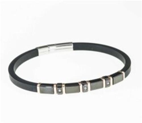 "SteelX Black/Rose Rubber Bracelet 8.5"""