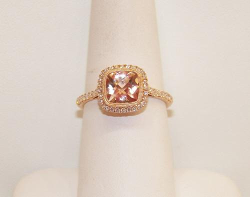 14 Karat Rose Gold Morganite & Diamond Halo Ring .32 DTW  (1.25 CTW Morganite)