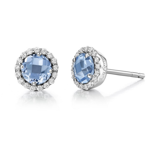 Sterling Silver Blue Topaz & Synthetic Diamond Halo Stud Earrings