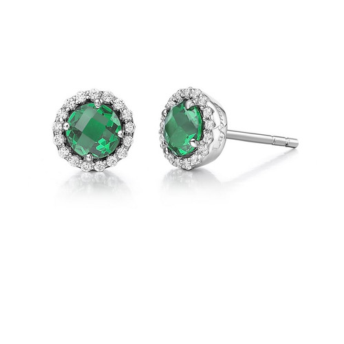 Sterling Silver Simulated Emerald & Diamond Stud Earrings