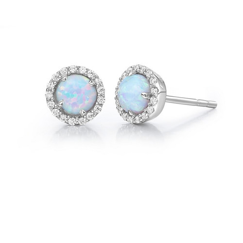 Sterling Silver Created Opal & Simulated Diamond Stud Earrings