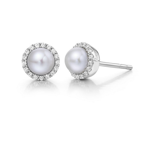Sterling Silver Fresh Water Pearl & Simulated Diamond Stud Earrings