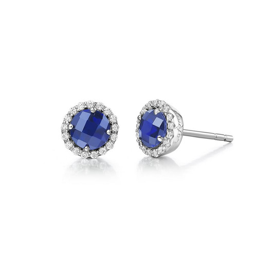 Sterling Silver Simulated Sapphire & Diamond Stud Earrings