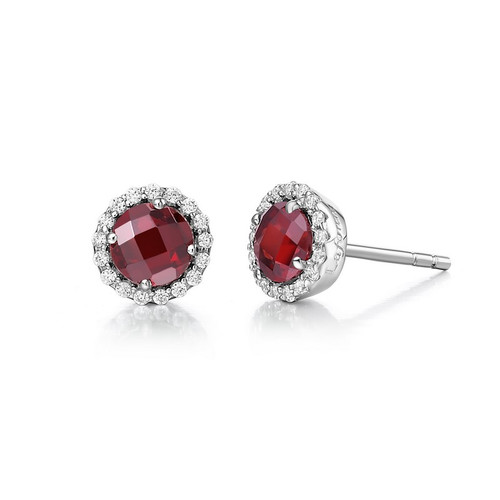 Sterling Silver Garnet & Simulated Diamond Stud Earrings