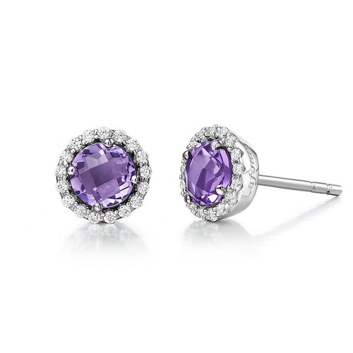 Sterling Silver Amethyst & Simulated Diamond Stud Earrings