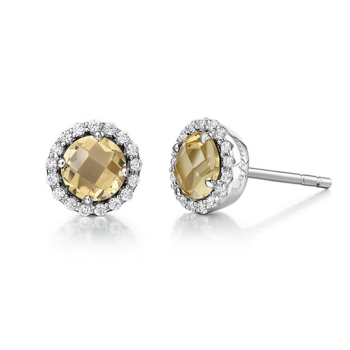 Sterling Silver Citrine & Simulated Diamond Stud Earrings