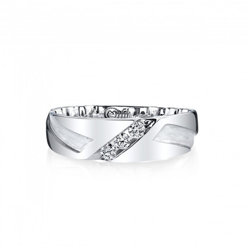 10 Karat White Gold Men's Mfit Diamond Band