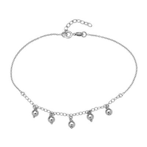 "Sterling Silver Anklet with Dangling Beads 9""+1"""